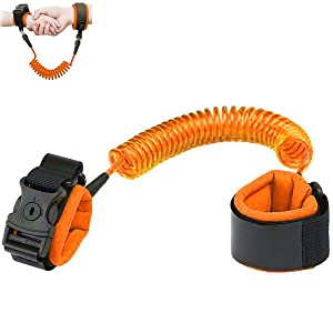 Anti Lost Wrist Link, Upgrade Version Safety Toddler Harness Leashes Child Safety Wristband Wrist Leash with Lock for Kids Toddlers 6.56ft (Orange)