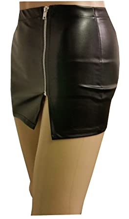 Style Plus Women Faux Leather Look with Zip Micro Mini Skirt Size 6 to 18  Black  Amazon.co.uk  Clothing 828e6d483