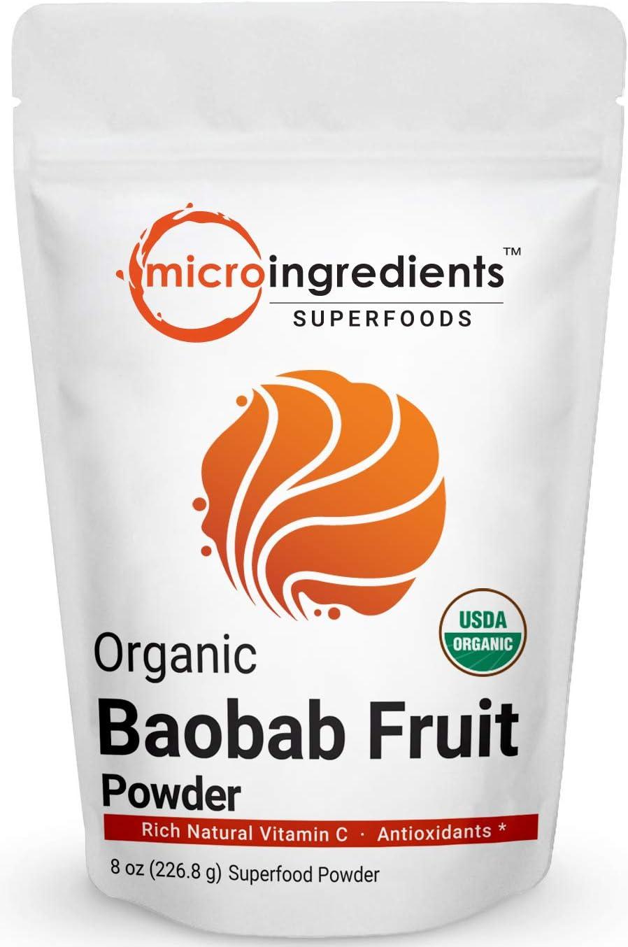 Organic Baobab Powder, 8 Ounce, Organic Vitamin C Powder, Natural Antioxidant, Flavonoids and Fatty Acid, Enhance Energy and Immune System, Non-GMO and Vegan Friendly