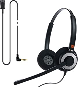 IPD IPH-165 Binaural Noise Cancelling Mic Headset with 3.5mm Jack for Android Cell Phones, Laptop,Tablet,Apple MacBook and Other Smart Devices