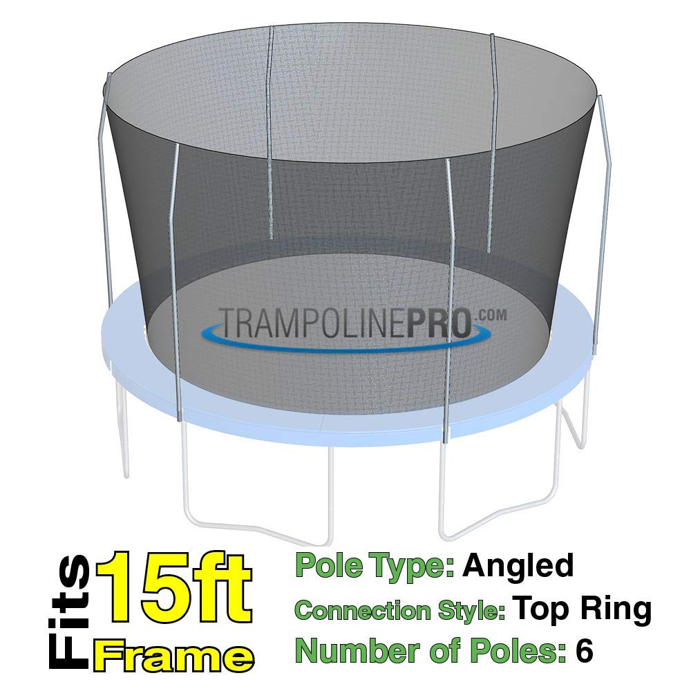 Trampoline Replacement Nets for Top Ring Models | Sizes 12 ft - 14 ft - 15 ft | Net Only | Poles Not Included | Top Ring Not Included (15 ft Net for 6 Pole Top Ring) by Trampoline Pro
