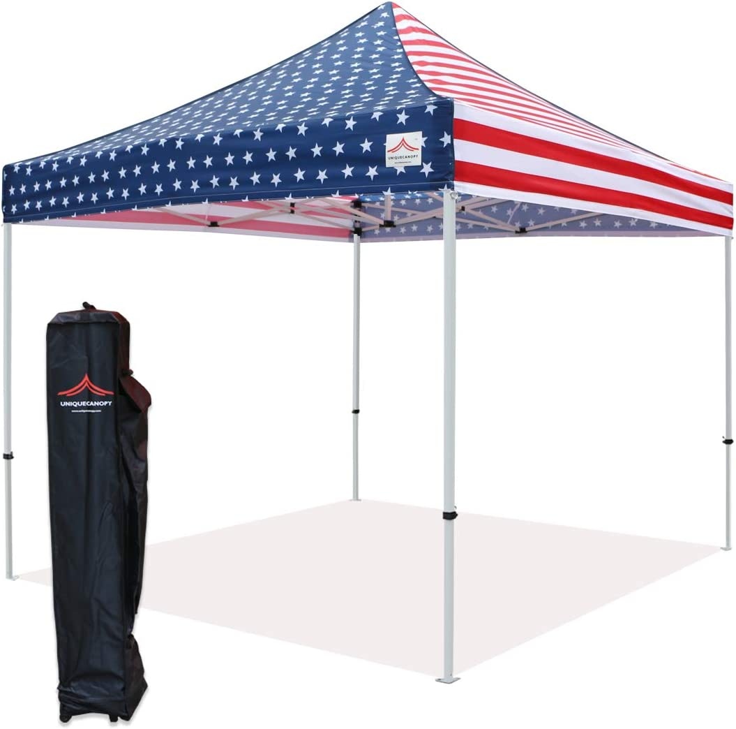 UNIQUECANOPY 10 x10 Ez Pop Up Canopy Tent Commercial Instant Shelter, with Heavy Duty Roller Bag, 10×10 FT Flag