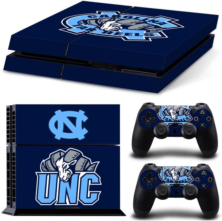 Sony PlayStation 4 Skin Decal Sticker Set - NCAA North Carolina Tar Heels (2 Controller Stickers + 1 Console Sticker, Style 2)