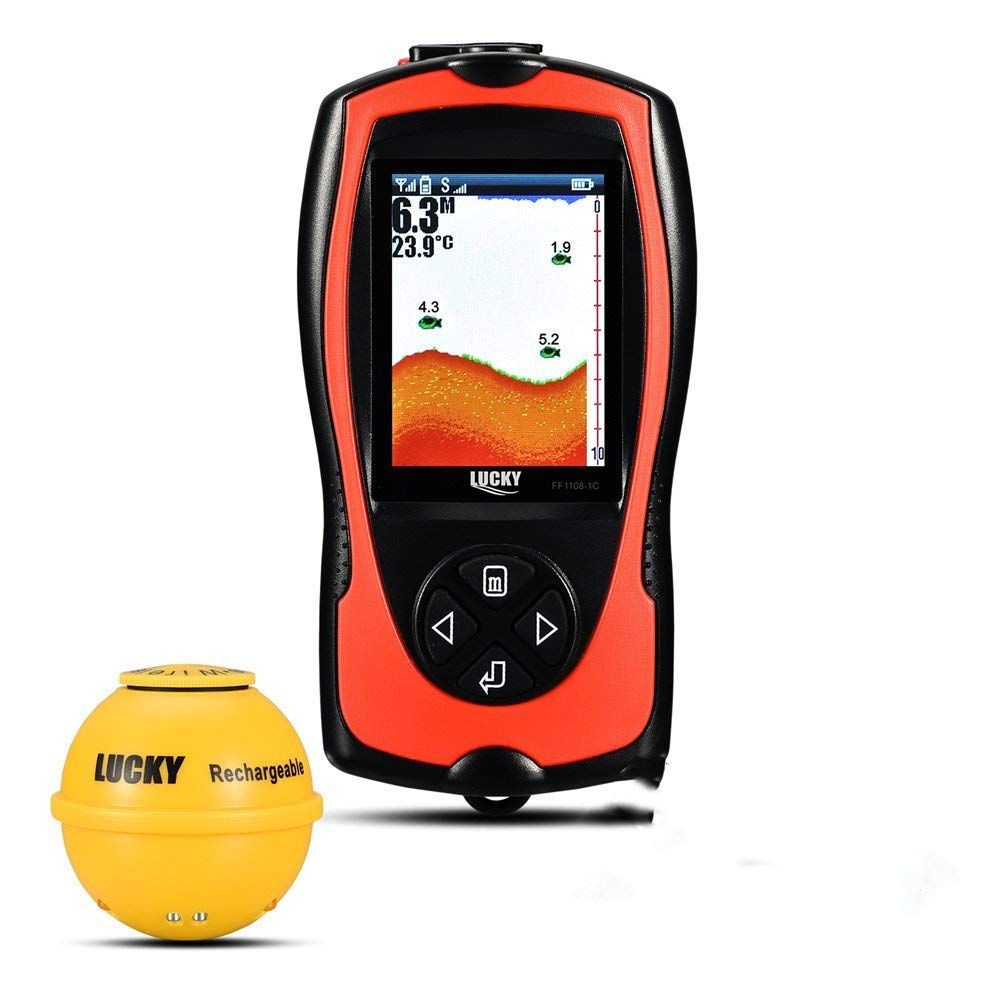SISHUINIANHUA 2 In 1 Wireless And Wired Fish Finder HD Screen Red Fish Detector,Wireless