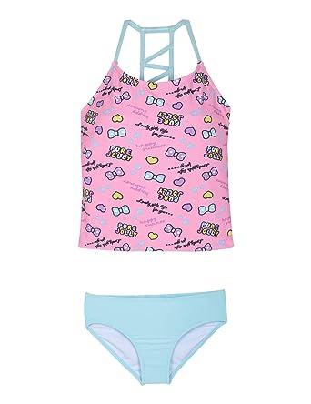 b09535701e39b Firpearl Girl s Two Piece Swimsuit Flounce Tankini Kids Swimwear Pink Lake  Green ...