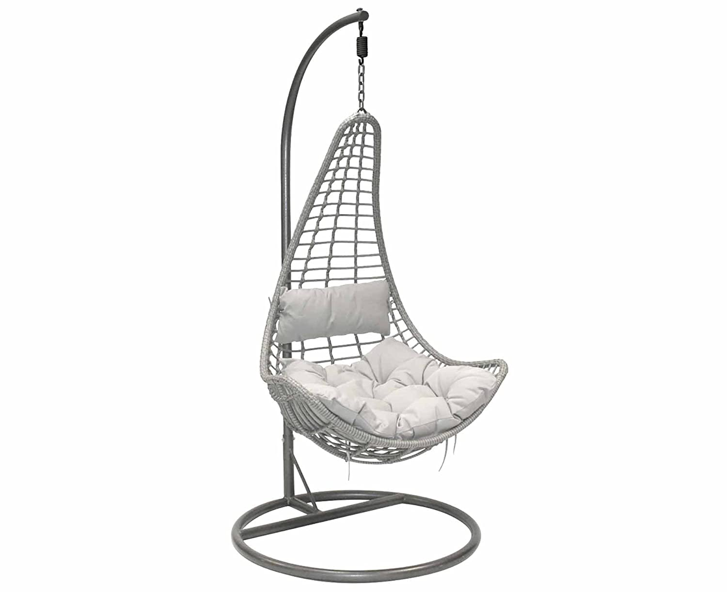 Hanging swing chair Stand Charles Bentley Rattan Hanging Swing Chair With Grey Cushion Color Grey Amazoncouk Kitchen Home Amazon Uk Charles Bentley Rattan Hanging Swing Chair With Grey Cushion Color