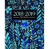 Agenda 2018-2019: 19x23cm : Agenda 2018 2019 semainier : Magnifiques aquarelle de fleurs bleues