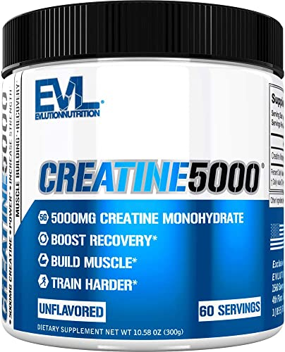 Evlution Nutrition Creatine5000 5 Grams of Pure Creatine Monohydrate in Each Serving Unflavored Powder 60 Servings