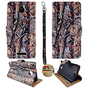 Ultra High Quality Printed HTC Desire 510 PU (Poly) Synthetic Leather Camo Brown Trunk Wallet Credit Card Holder Cover Wallet Sprint , Cricket, Virgin Mobile, Boost Mobile Case Cover Hard Case Snap-on Cases Rubberized Touch Protector Hard Shell Cover Faceplates
