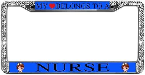 MY HEART BELONGS TO A NURSE License Plate Frame