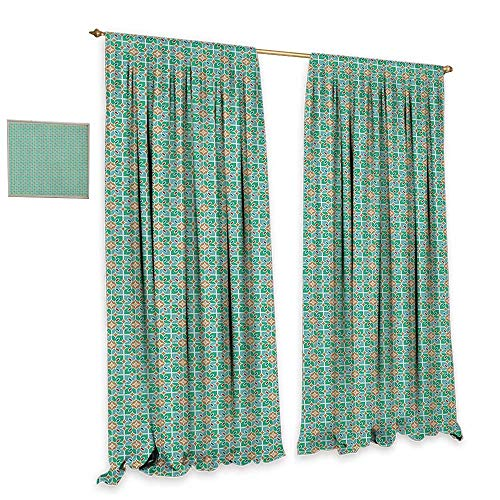 homefeel Teal and White Room Darkening Wide Curtains Floral Moroccan Mosaic Pattern Ancient Cultural Design Eastern Asian Tile Patterned Drape for Glass Door W84 x L108 Multicolor -