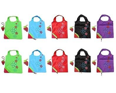 Hilai Bolsas de la compra plegables de fresa reutilizables con bolsa para el hombro