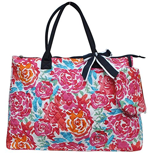 Flower Accent Tote - Ngil Quilted Cotton Extra Large Overnight Travel School Tote Bag 3 (Fall 2017 New Pattern) (All Flowers Navy)