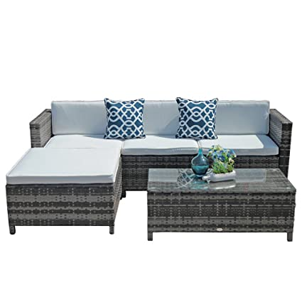 Amazon Com Outdoor Patio Furniture Set 5pc Pe Wicker Rattan