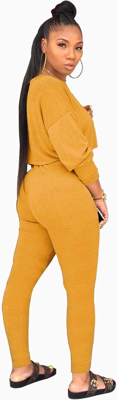 WBHMVMZ Damen Sweatshirt Sweatshirt Tops Hosen Zweiteilige Damenmode Rundhals-Langarmtaschen Gelb
