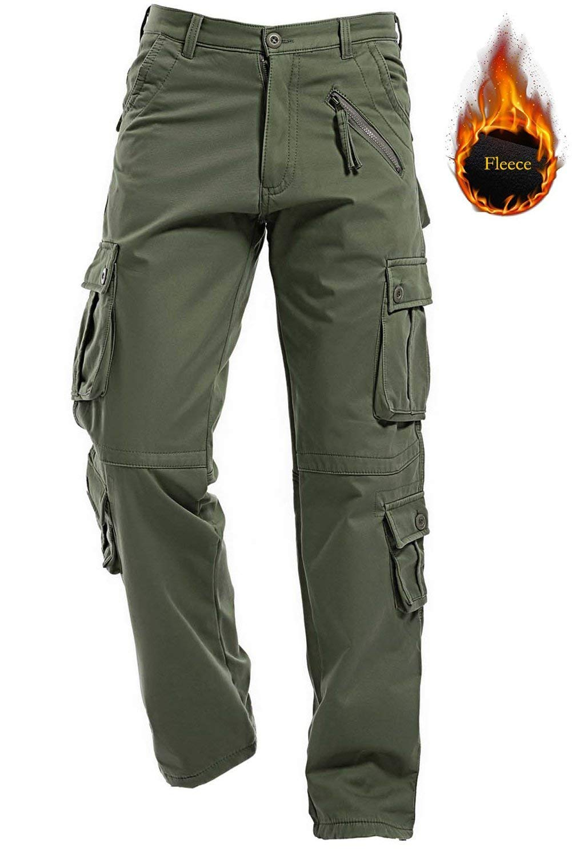 TALLA 30 cintura x normal. Pantalones de forro polar AIZESI, para hombre, para el invierno, Hombre, Army Green, 30 cintura x normal