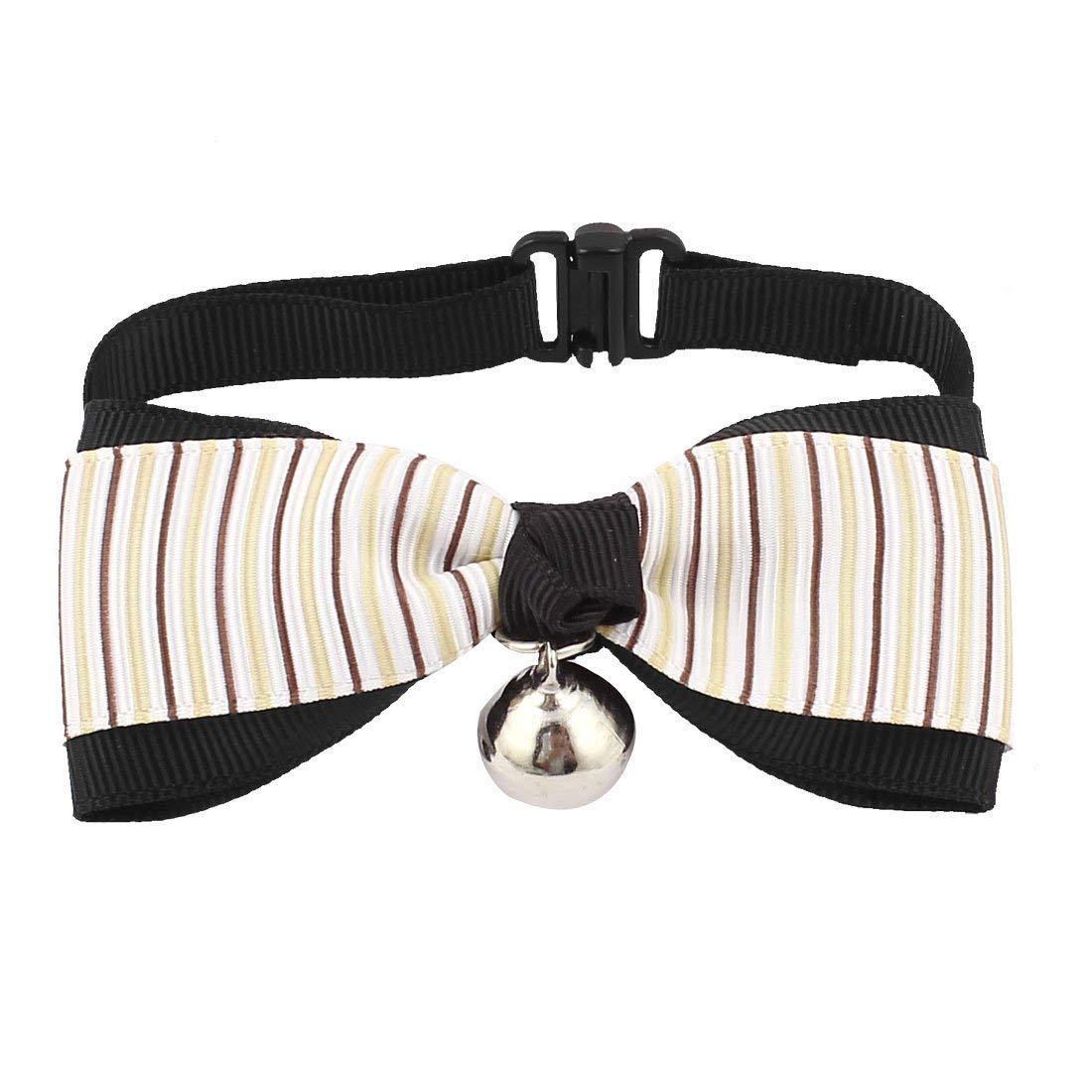 1Pc Pet Puppy Stripe Pattern Bowknot Bowtie Necktie Collar Coffee color