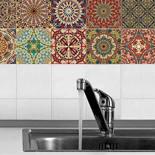 Peyan Noble Tiles Stickers Arab Style Home Mandara Wall Stickers Kitchen Wallpaper Decorative Tiles (8x8 inch,Set of 20)