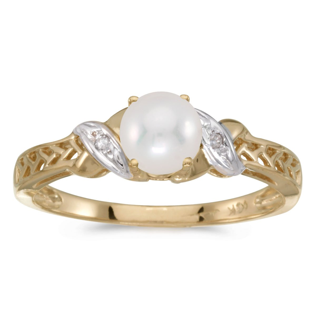 0.01 Carat (ctw) 14k Yellow Gold Round Freshwater-Cultured Pearl and Diamond Crossover Infinity Antique Promise Fashion Ring (4.5 MM) - Size 10