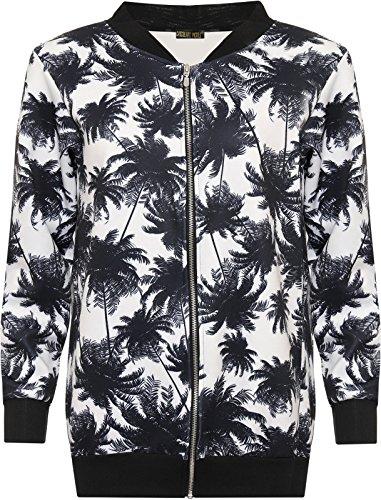 CHOCOLATE PICKLE New Ladies Plus Size Leopard Print Zip Up Ribbed Bomber Blazer Jacket 14-28 Black Leaf