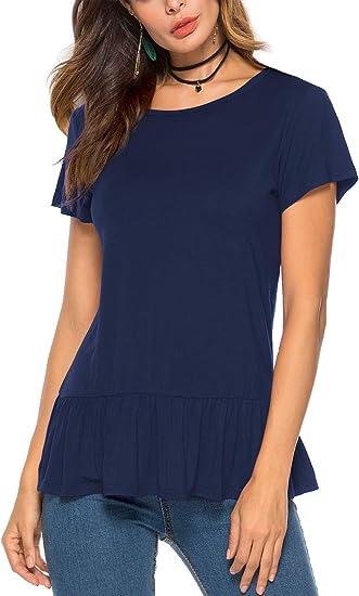 Women Peplum Tops Summer Short Sleeve Plain Swing T-Shirts Ruffle Hem Babydoll Blouse Tops
