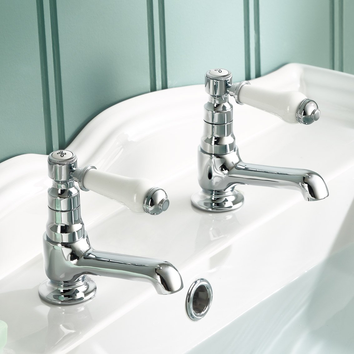 iBathUK | Traditional Pair of Hot and Cold Basin Sink Taps Chrome ...