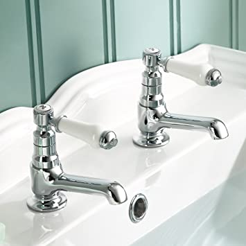 Traditional Twin Basin Sink Hot And Cold Taps Pair Chrome Bathroom Faucet  TB134
