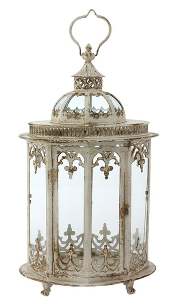 Raz Holiday Christmas 24.5'' Antique White Large Metal Lantern