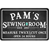 Pattern Pop Personalized Sewing Room Chalkboard Look Metal Room Sign