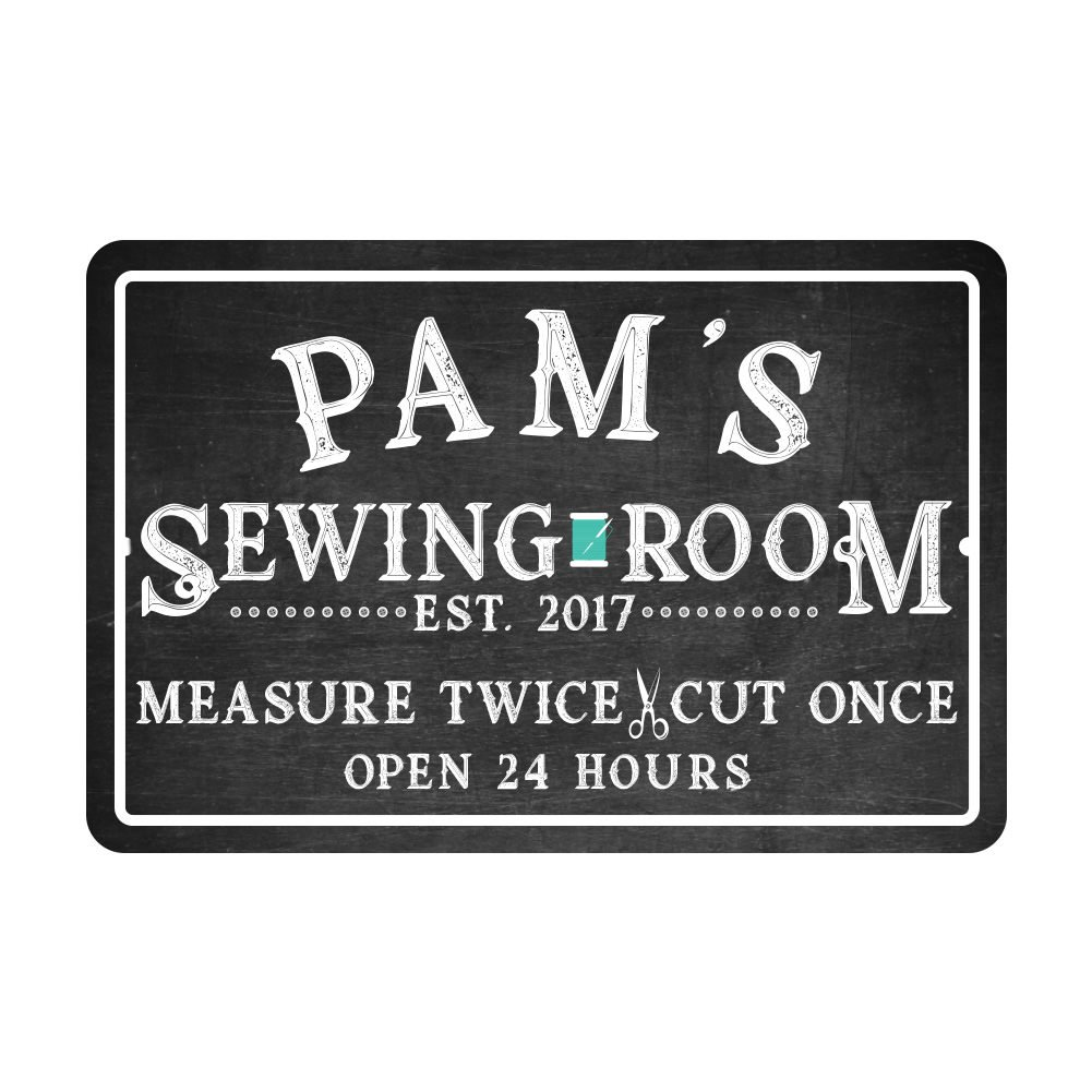 Personalized Sewing Room Chalkboard Look Metal Room Sign