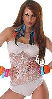 Ladies Bandeau Lace Body Bodysuit One Size 6,8,10,12 - different colors