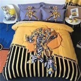 Kids Cartoon Spider-Man Bedding Sets - Jameswish 3D Batman Captain America Iron-Man Transformers Bumblebee Superman 4-Piece Bed Sheet Set 100%Cotton 1Duvet Cover 1Flat Sheet 2Pillowshams