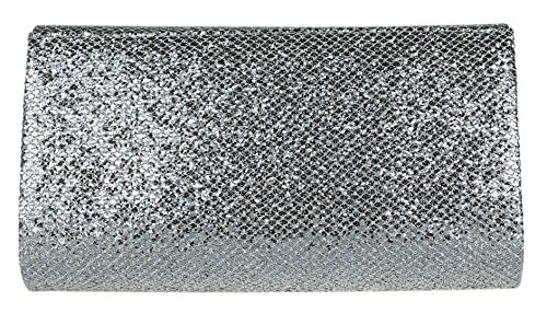 Clutch Bag HandBags Girly Girly HandBags Grey Glitter P7x1nzwUz