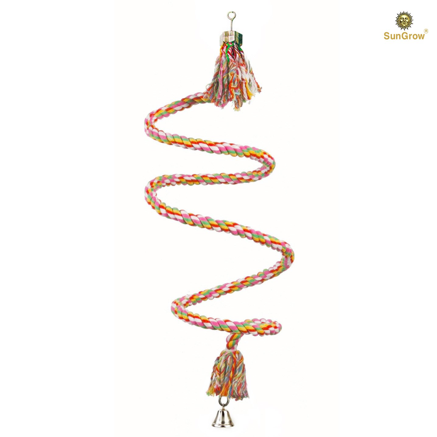 Brightly Colored Handmade Eco Friendly SunGrow Rope Perch and Chew Toy for Birds - Ideal for Relaxing or Working on Balance and Agility