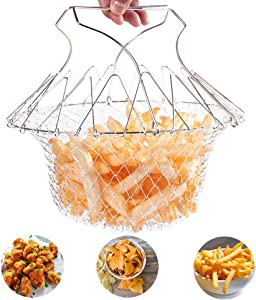 YQBUY Multi-Function Stainless Steel Frying Basket, Foldable Chef Basket with Handle, Strainer Net Kitchen Washing Cook Tool