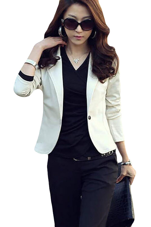 SYTX-women clothes BLAZER レディース B074YG9N91  ホワイト Small