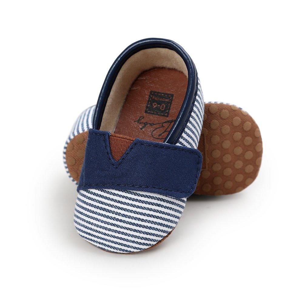 CoKate Newborn Baby Stripes Soft Sole Anti-Slip Infant Prewalker Toddler Shoes