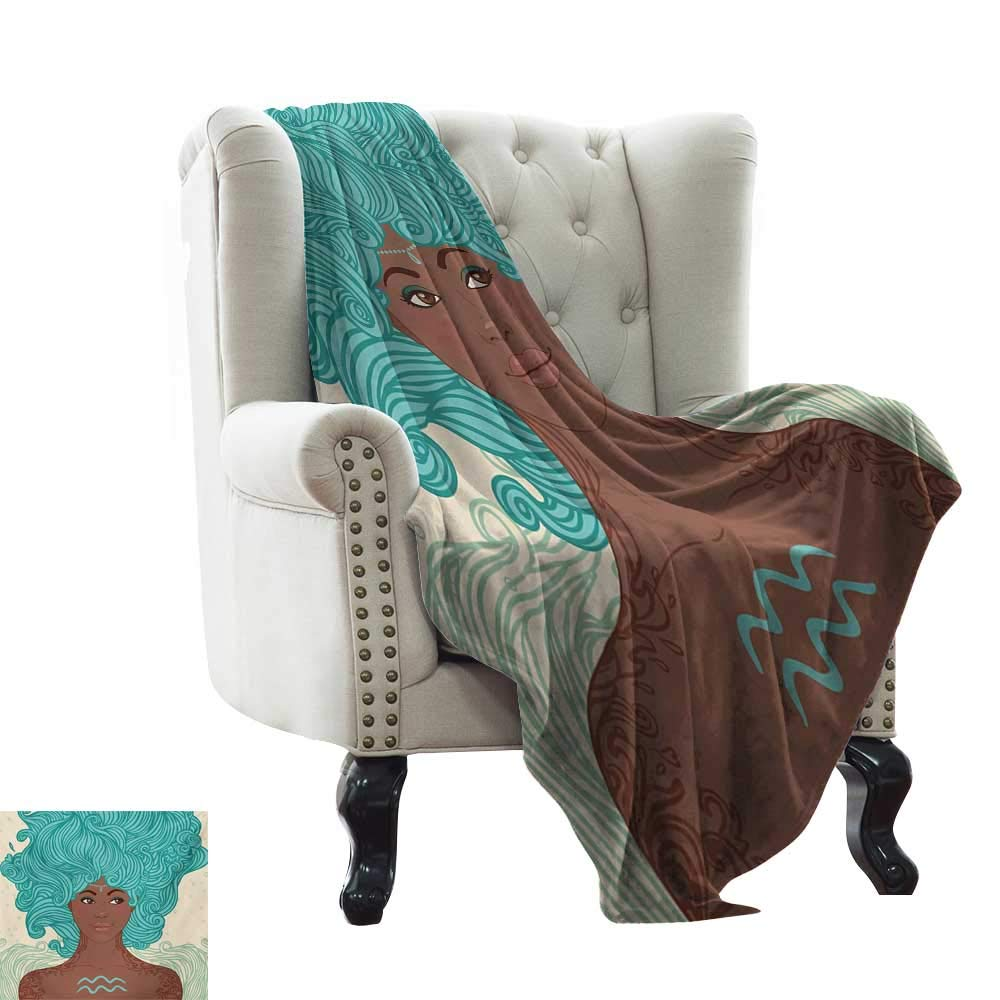 color03 60 x62  Inch BelleAckerman Soft Cozy Throw Blanket Zodiac Aquarius,Little Astrology Girl with a Bucket Birthday Hgoldscope Character,Cinnamon Pale bluee Lightweight Microfiber,All Season for Couch or Bed 50 x60