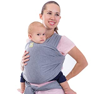 Baby Wrap Carrier All-in-1 Stretchy Baby Wraps - Baby Sling - Infant Carrier - Babys Wrap - Hands Free Babies Carrier Wraps - Baby Shower Gift (Classic Gray)
