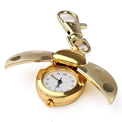 SMARTNAVI Hombres Mujeres Adultos Cuarzo Analógico Mariquita Dorada Reloj de Bolsillo Llavero Llavero Reloj Colgante