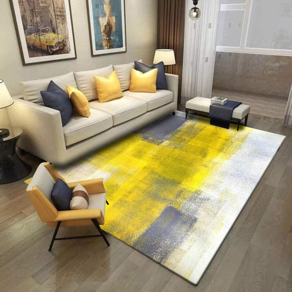 Rug Shaggy Modern Abstract Watercolor Living Room Carpet Yellow Gray White Door Mat 7mm Washable Dining Room Nursery Hallway Kitchen Runner Rugs 100x160cm Amazon Co Uk Kitchen Home