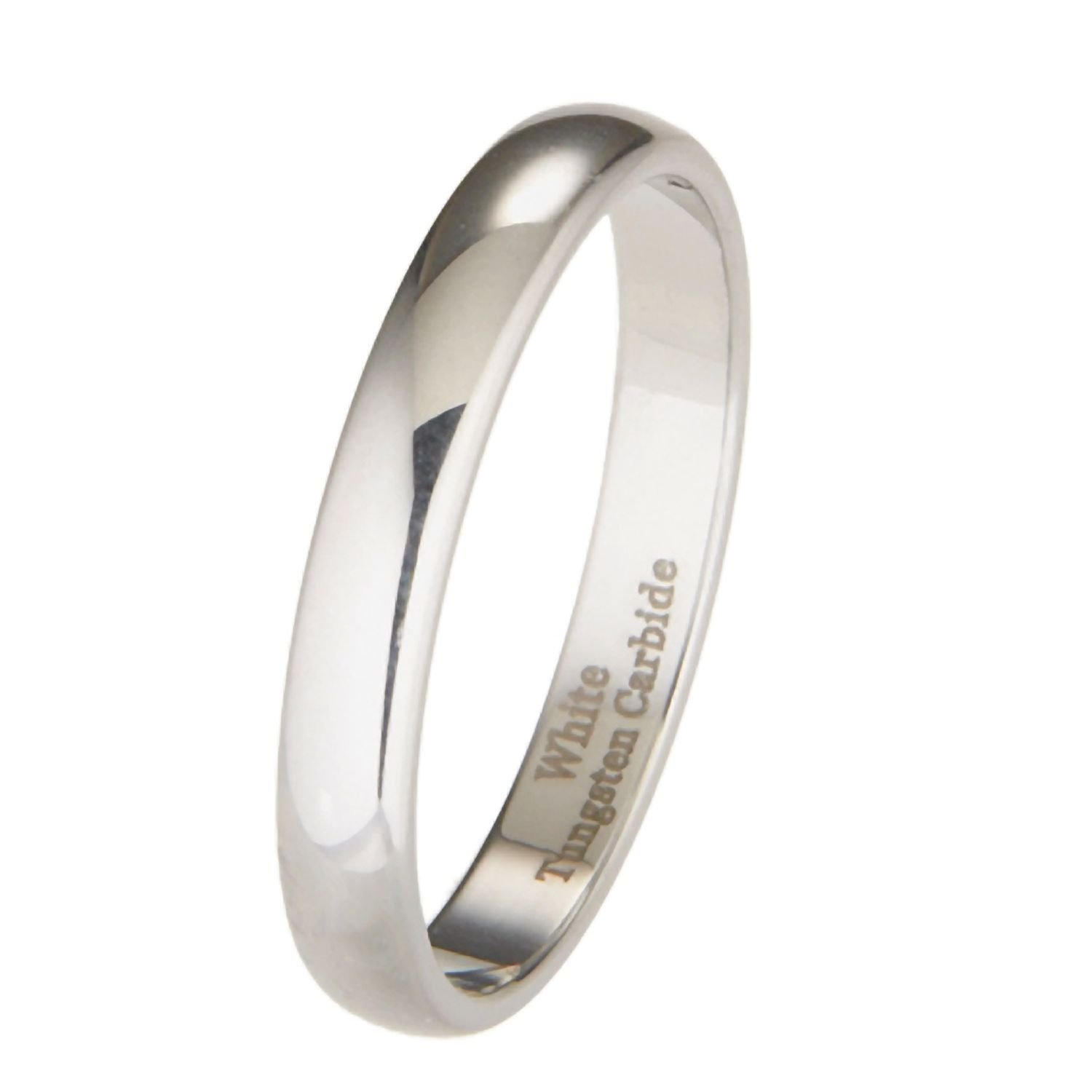 MJ Metals Jewelry Custom Engraved 3mm White Tungsten Carbide Polished Classic Wedding Ring Sz 8.5