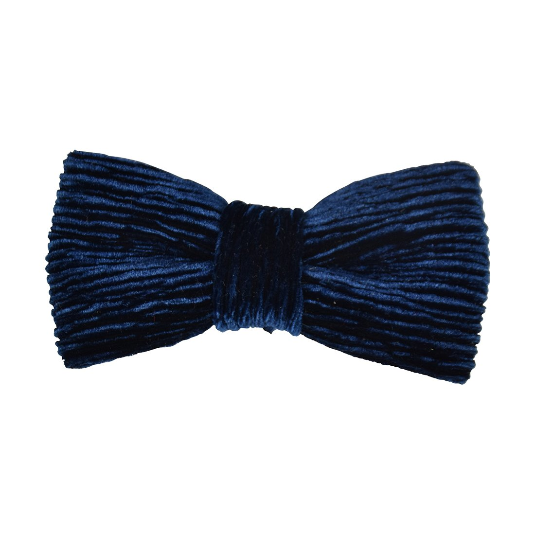Pre-tied Bowtie for Boys Clip-on Solid Ribbed Velvet-Navy
