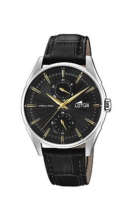Lotus Watches Reloj Multiesfera para Hombre de Cuarzo con Correa en Cuero 18523/4: Amazon.es: Relojes