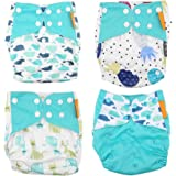Baby Cloth Diaper, 4Pcs/Set Super Soft Baby Leak-free Snaps Cloth Diaper Cover Newborn Nappy Waterproof Washable Reusable for Baby Infant Toddler(E)