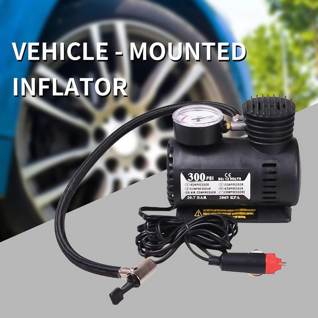 Black 12v Miniature Locomotive Air Pump Vehicle Tire Air Compressor Portable Vehicle Electric Small Air Pump