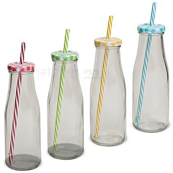 matches21 Pajita Botella de botellas de vidrio transparente Juego de 4 Multicolor Tapa Rojo Verde Amarillo