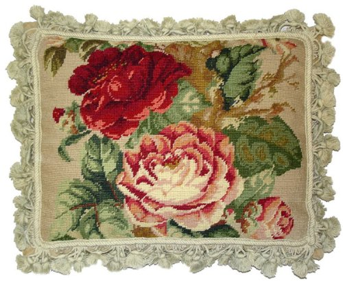 Deluxe Pillows Red Rose and Pink Roses - 14 x 18 in. needlepoint pillow