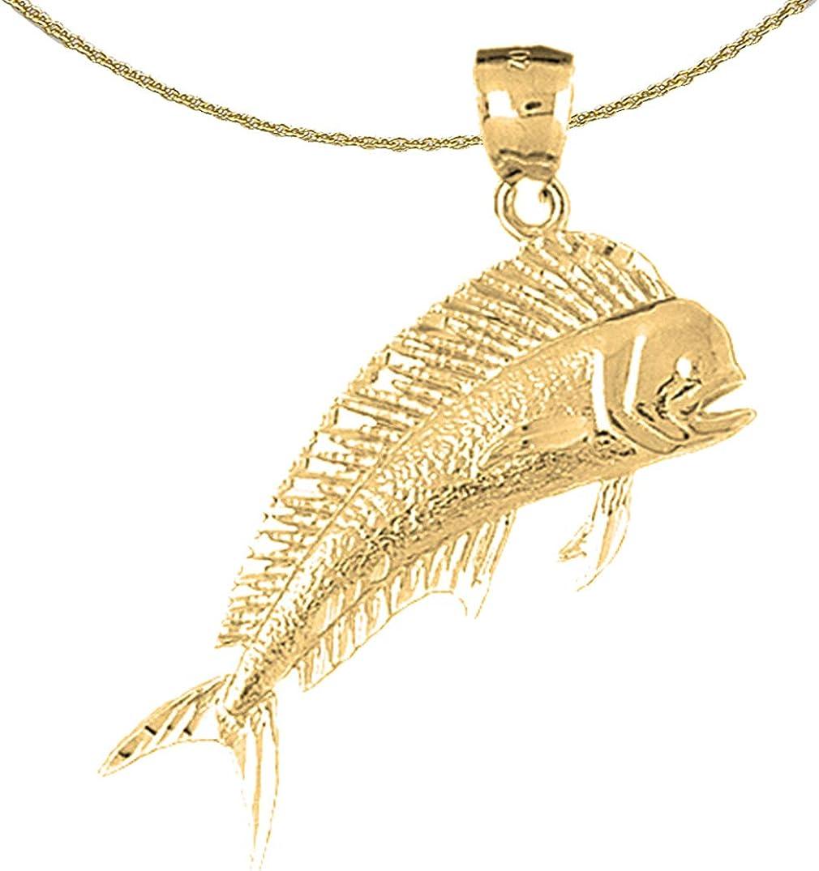 17 mm Jewels Obsession 14K Yellow Gold Marlin Pendant