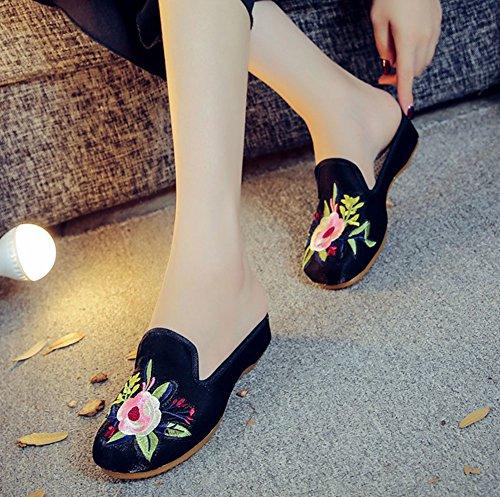 Avacostume Suikerspinborduurwerk Mode Flats Muilezel Schoenen Zwart